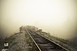 The railroad in the morning fog. Carpathian mountains. - 80773089