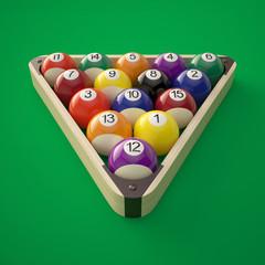 Billiard balls in a triangle on a green billiard table