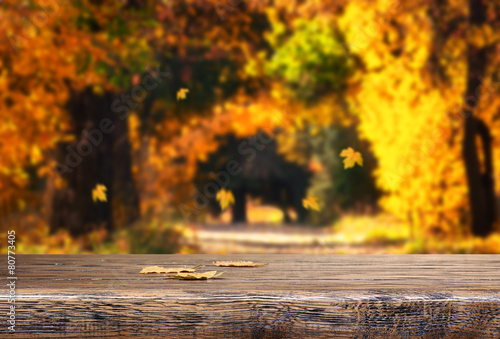 Table with autumn leaves on natural background