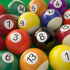 Billiard balls on green billiard table