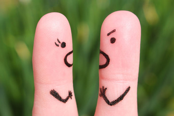 Finger art of a couple during quarrel.