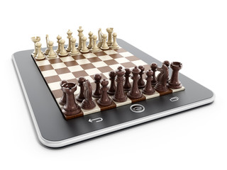 Chess pieces on tablet computer