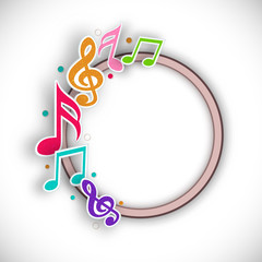 Blank rounded frame decorated with colorful musical notes.