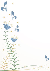 stylized flowers and butterflies