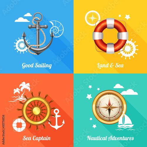 Nautical design concept 4 flat icons
