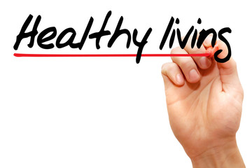 Hand writing Healthy living with marker, health concept