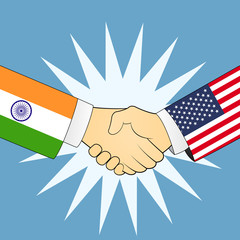 United states and India Handshake