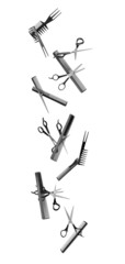 falling hairdressing tools on white background