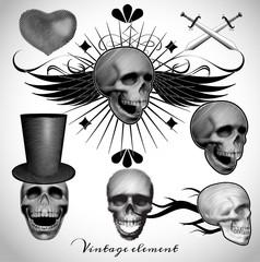 vintage skull tattoo vector illustration