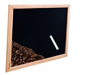Kaffeebohnen mit Tafel