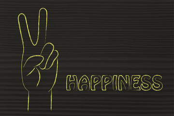 illustration of an hand making the V sign: concept of happiness