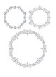 Set of 3 round frames in mono line style