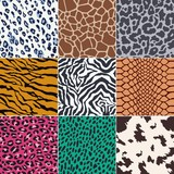 Fototapety repeated wild animal skins fabric print background