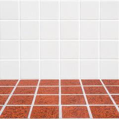 modern beige and red mosaic corner