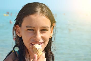Girl eating an ice cream