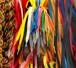 many multicolored shoelaces