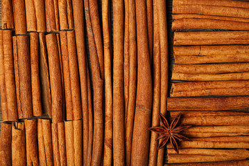 Cinnamon sticks and anise star on wooden background