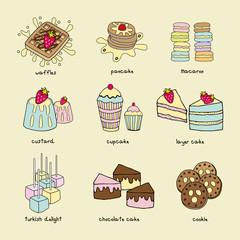 Bakery doodle pastel color scheme