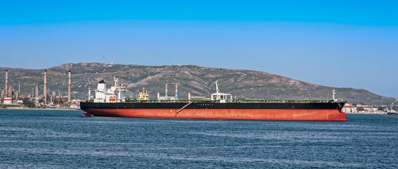 Loading oil supertanker