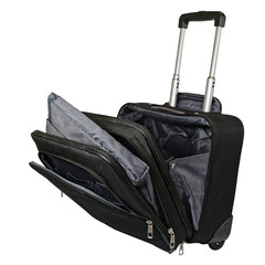 Black suitcase on wheels