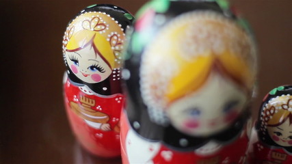 Russian matreshka (Russian doll). Close up