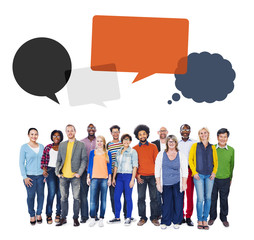 Multi-Ethnic Group of People and Speech Bubbles Concept