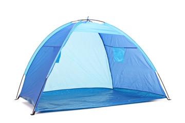 Studio shot of a blue tent