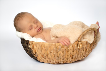 Newborn baby boy portrait sleeping in a basket.