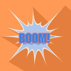 Boom Cartoon blue. Vector illustration.