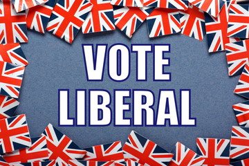 Vote Liberal Election reminder with union jack flags