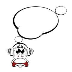 Cartoon sad with headphones. Music lover. Vector illustration.