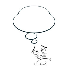 Sad Cartoon with bubble isolated on white background. Vector ill