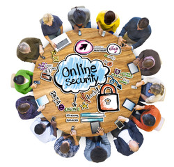 Group People Discussing Online Security Concept