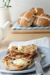 Easter Breakfast Hot Cross Buns and Tea