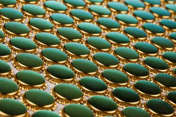 golden bottle caps