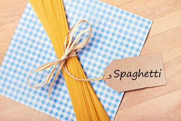 food background - pasta on wood table