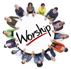 Group People Holding Hands Worship Concept