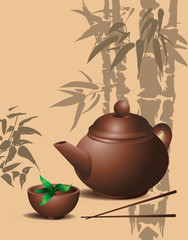 banner with teapot and cup