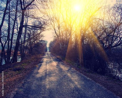 Old asphalt road