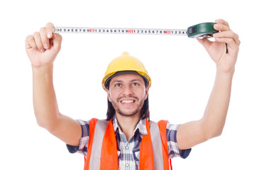 Construction worker with tape-line isolated on white
