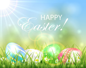 Easter background with multicolored eggs