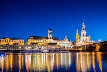 Dresden skyline at night near river