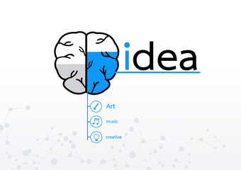 brain right concept. Creative idea abstract infographic