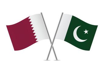 Pakistan and Qatar flags. Vector illustration.