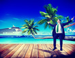 Businessman Business Travel Beach Working Relaxing Concept