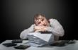 Tired accountant, humorous portrait