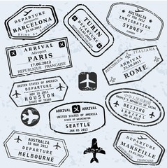 Travel vector - passport stamps