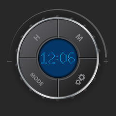 Digital clock with blue lcd