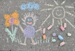sidewalk spring chalk painting with sun, flower and doll - 80789017