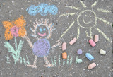 sidewalk spring chalk painting with sun, flower and doll